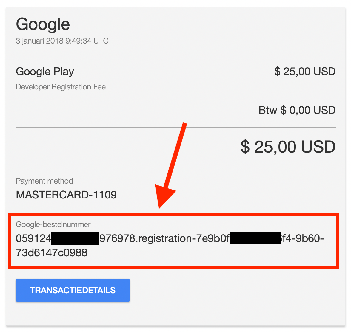 the transaction ID does not match for this developer account