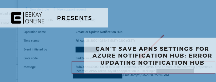 How to fix when you can't save APNS settings for your Azure Notification hub