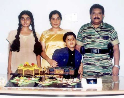 balachandran with Prabakaran family