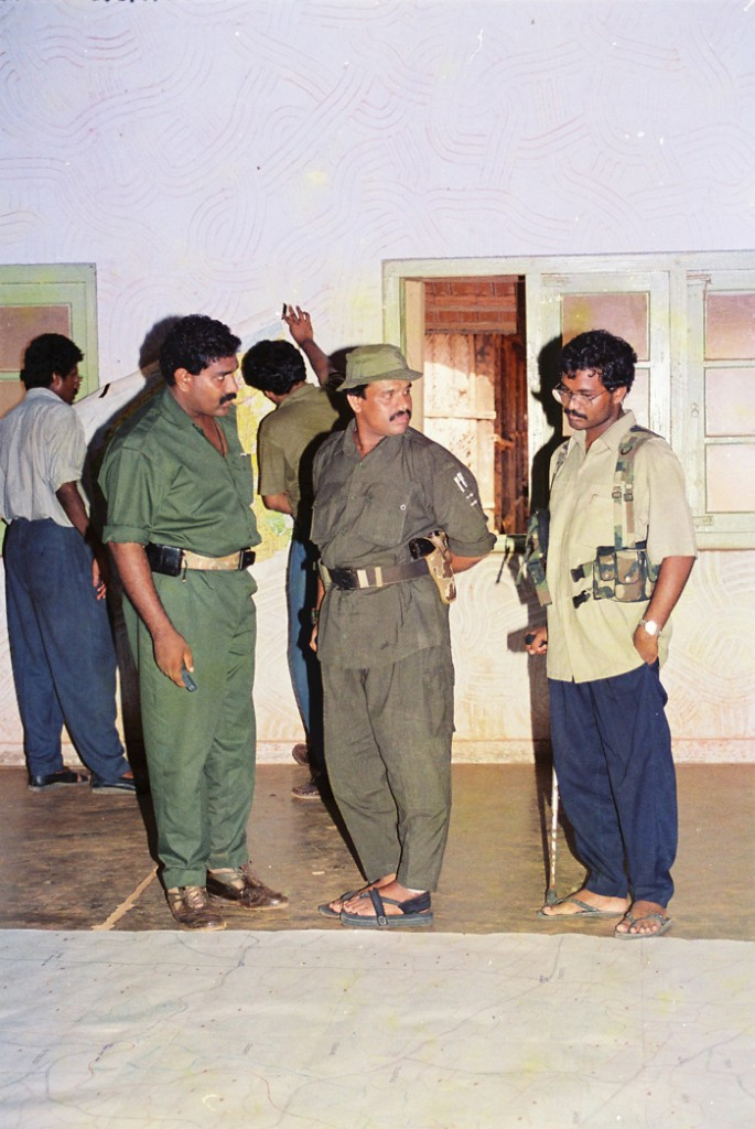 Tiger commanders Sornam, Balraj with S.P. Thamilchelvan during LTTE Counter Op. 'Tiger Leap' in Jaffna