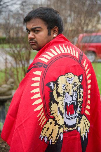 Kumaran Markandu  Tamil flag London