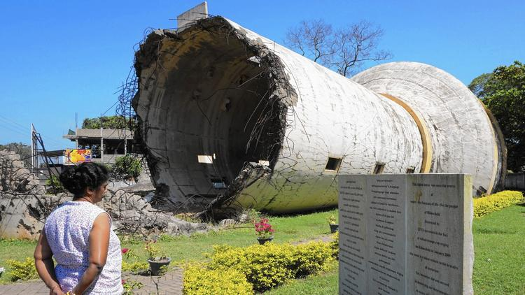A water tank destroyed in the Sri Lankan civil war now stands as a memorial in Kilinochch
