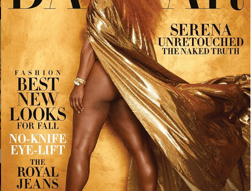 Serena Williams is A Golden Goddess on Cover of Harper's Bazaar August Issue