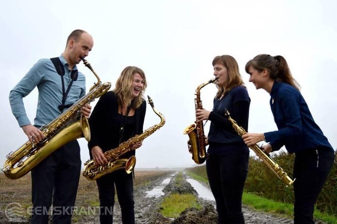Het Ommelander saxofoonkwartet in de Jacobuskerk te Zeerijp