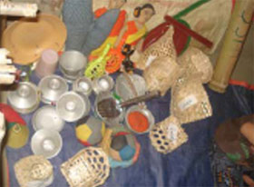 Local materials are used to help children develop their language skills