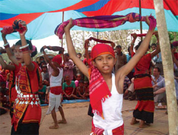 Children participating in a community celebration