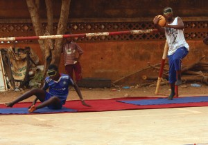 Blind and sighted students playing a ball game together, Burkina Faso (EENET photo library)