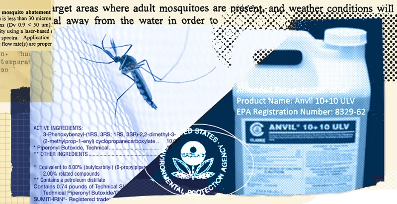 Pesticide collage. Credits: Claudine Hellmuth/E&E News (illustration); Freepik (mosquito); EPA (logo and text) ; Clarke Mosquito Control Products Inc. (Anvil bottle)