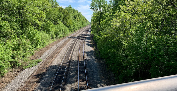 Train tracks along a proposed pipeline route in Memphis. Photo credit: Mike Soraghan/E&E News
