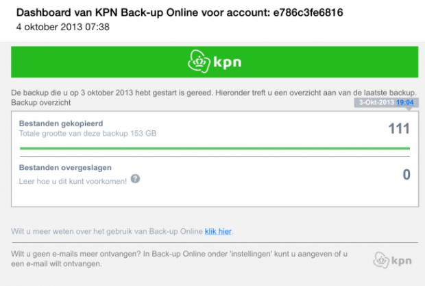 KPN Backup Online e-mail