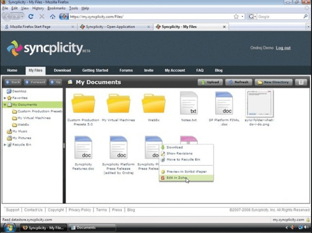 Syncplicity Online (Edit in Zoho)
