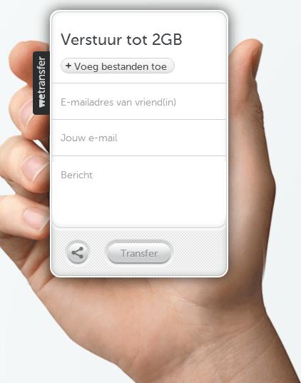 WeTransfer interface