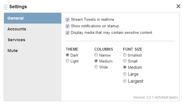 TweetDeck - Application Settings - General