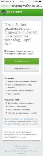Pocket OAuth Evernote
