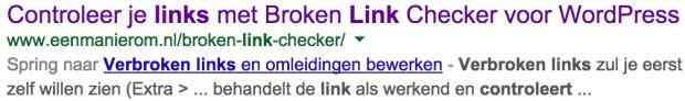 Google zoekresultaat met Spring naar