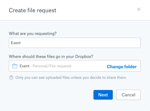 Dropbox - Create file request