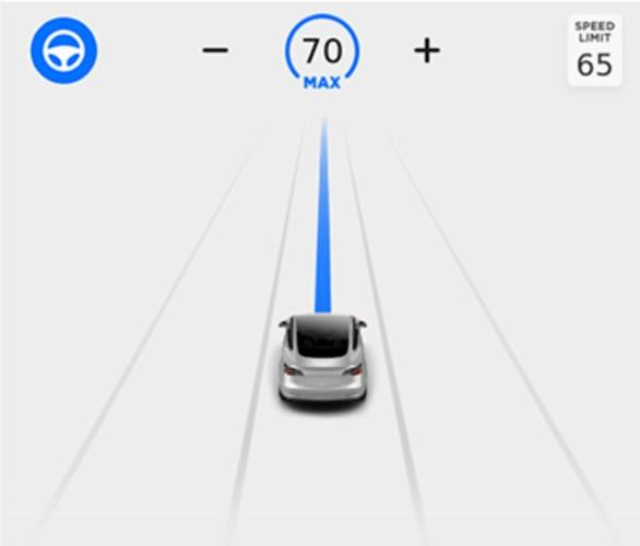 Linkerdeel touchscreen tijdens rijden met automatisch sturen en cruisecontrol actief
