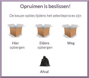 Keuze-opties tijdens het selectieproces