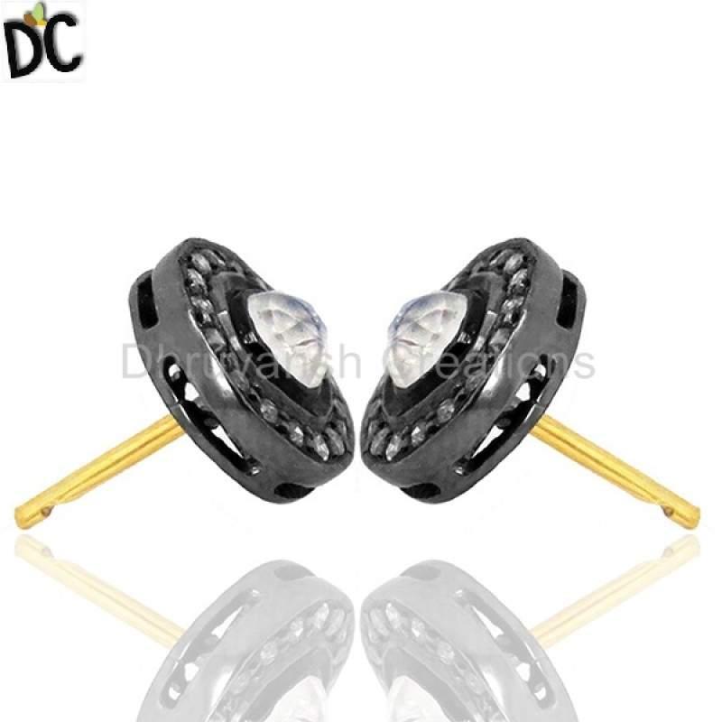 Diamond Moonstone Stud Earrings Sterling Silver Vintage