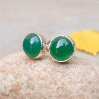 Sterling silver Green onyx tiny stud earrings 10mm Onyx