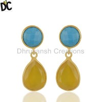 Turquoise and Yellow Chalcedony Gemstone 925 Silver ...