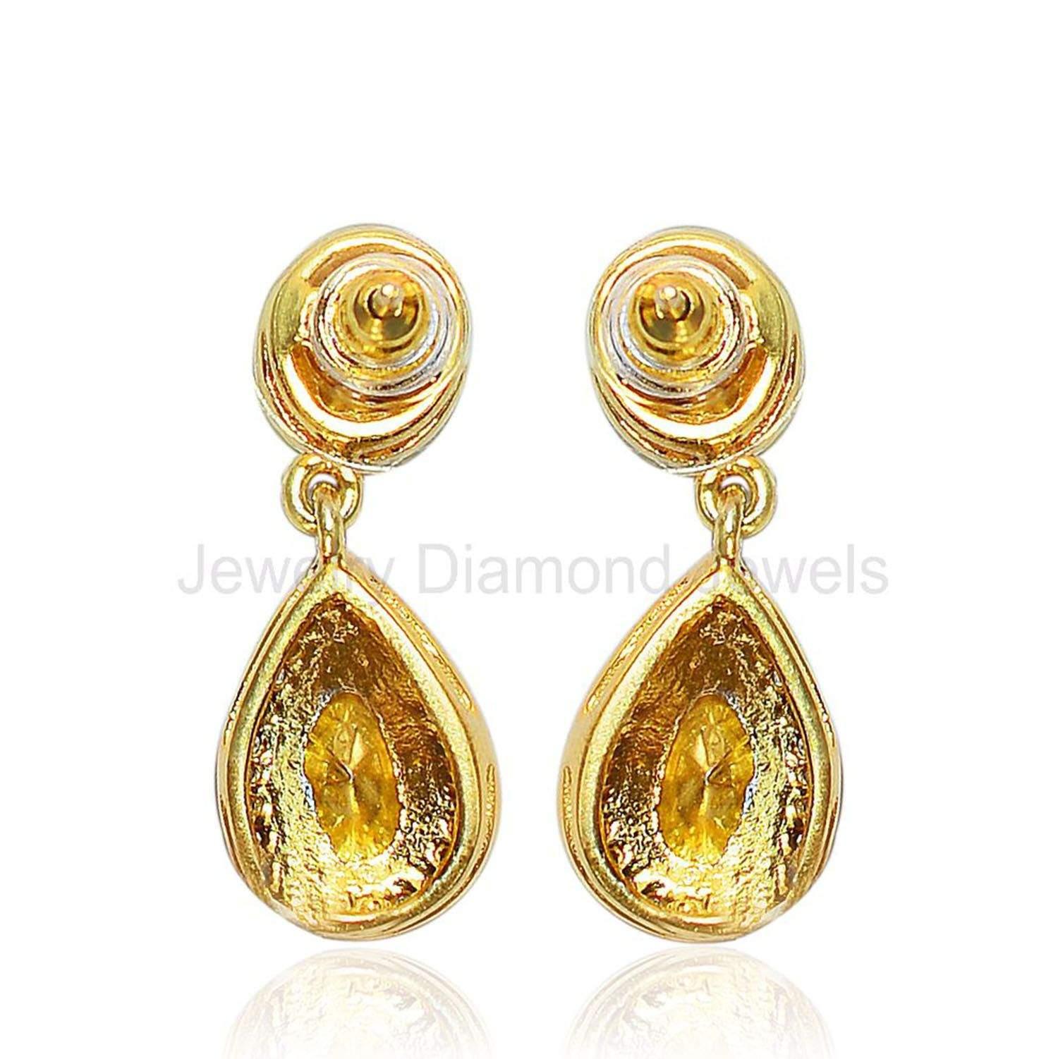 Rose Cut Diamond Wedding Jewelry Earrings 925 Sterling