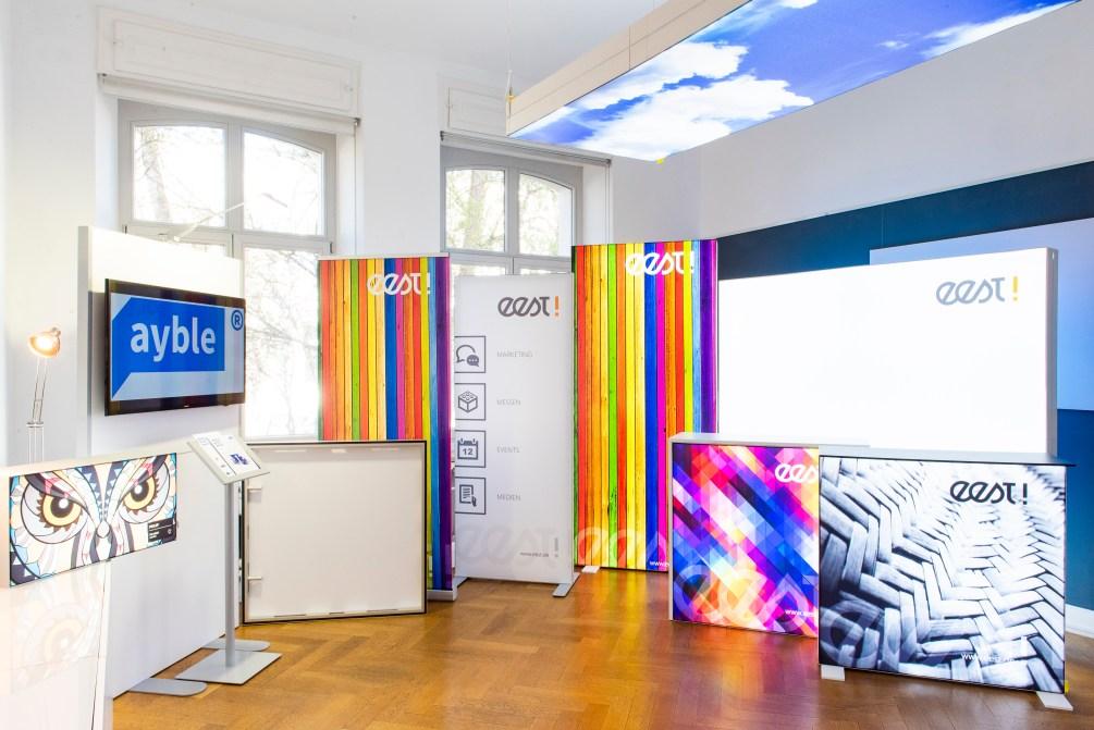 Der eest! Showroom für mobile Messesysteme und modularen Messebau.