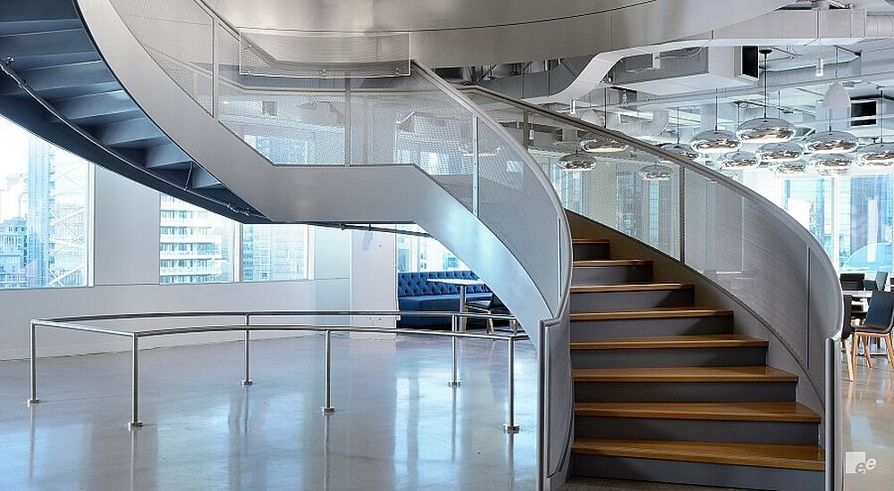 Stylish Stair For Toronto Office Space   Commercial Building Staircase Design   Office   Interior   Edgy   Contemporary   Drawing