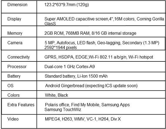 galaxy-s-advance-I9070-specs