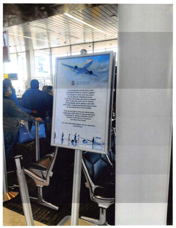 A sign in an airport explaining that there is face recognition being used in the area. This is an example of signage CBP gave us as a response to our letter.