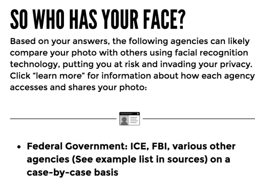 A screenshot of the Who Has Your Face Quiz Results
