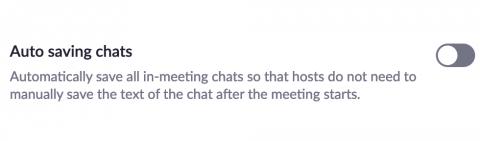The autosave chats setting toggled off to the left