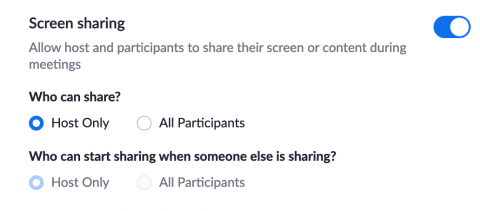 The screensharing setting set to host only