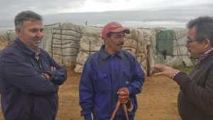 Agriculture President Antonio Perianes meeting with seasonal workers