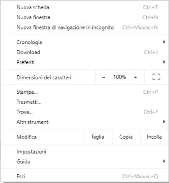 Google Chrome - Menù
