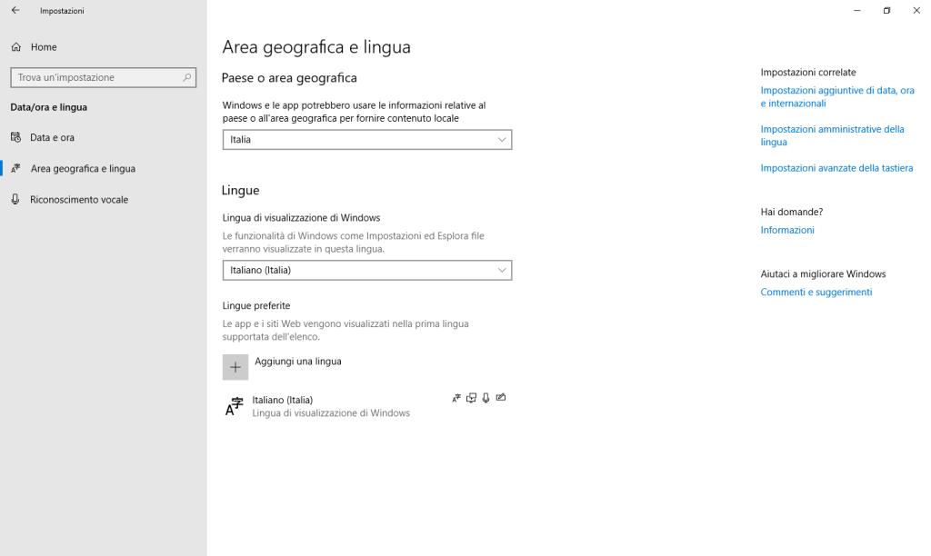 Windows 10 - Impostazioni - Area geografica e lingua