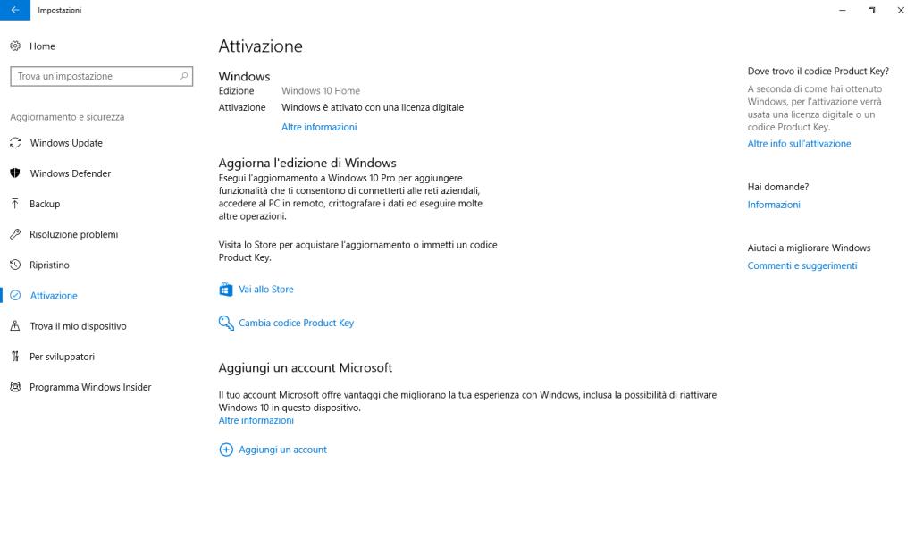 Windows 10 Home - Attivazione
