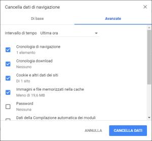 Google Chrome - Cancella dati di navigazione Avanzate 01