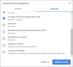 Google Chrome - Cancella dati di navigazione Avanzate 02