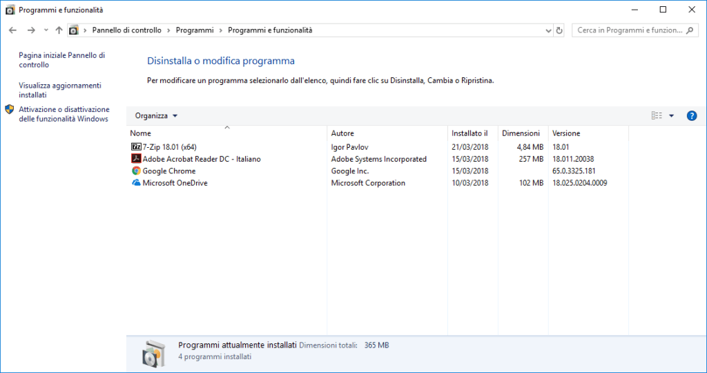 Windows 10 - Disinstalla Programmi