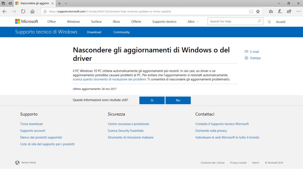 Windows 10 - Sito Hide Updates Microsoft
