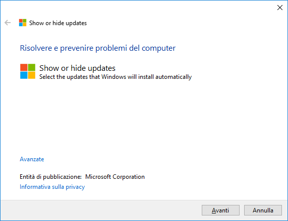 Windows 10 - Show or hide updates