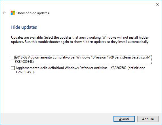 Windows 10 - Show or hide updates - Nascondere aggiornamenti