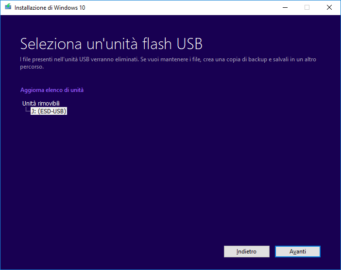 Windows 10 - Media Creation Tool - Scelta chiavetta USB