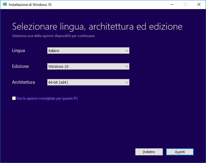 Windows 10 - Media Creation Tool - Scelta lingua, architettura ed edizione