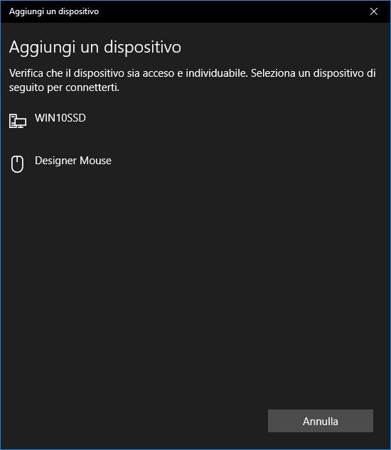 Windows 10 - BlueTooth - Ricerca dispositivi bluetooth