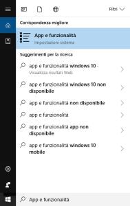 Windows 10 - App e funzionalità