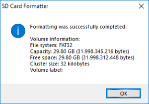 SD Card Formatter - Format terminato