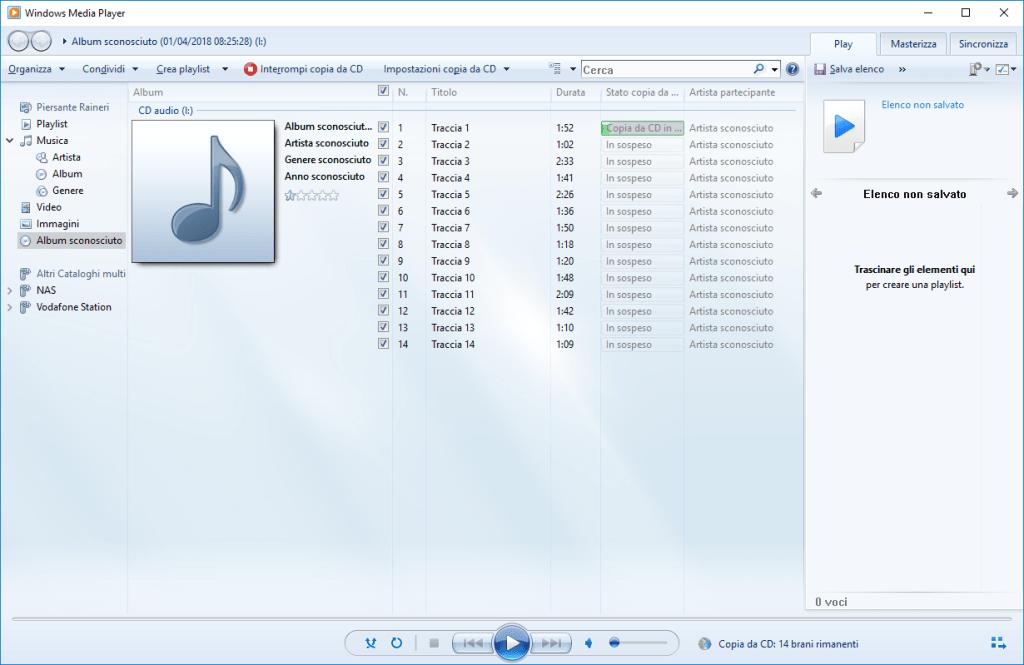 Windows 10 - Windows Media Player - Copia Cd In corso