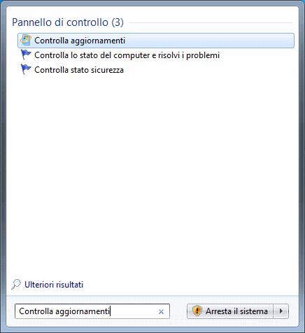 Windows 7 - Ricerca Controlla Aggiornamenti